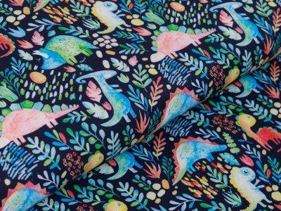 Softshell Jackenstoff Digitaldruck - verschiedene Dinos und Blätter - marine