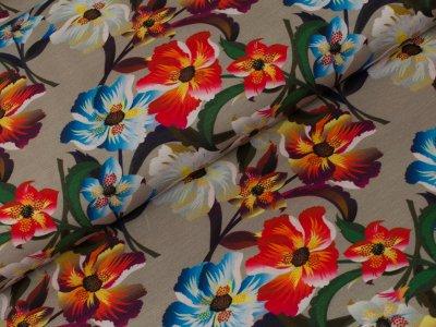 Jersey - große Blumen - sand