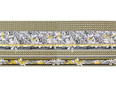 KDS Queen's Collection Isabella - Jersey Viskose  PANEL ca. 65cm x 170cm - Blumen auf geometrischem Muster - grau/gelb