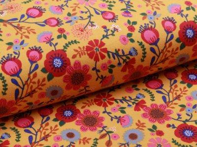 Jersey - Blumen - ocker