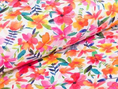 Sweat French Terry - Hibiskusblüten - weiß