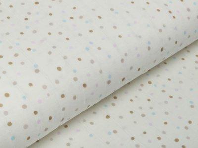 Musselin Baumwolle Hydrofiel Double Gauze - Dots - wollweiß