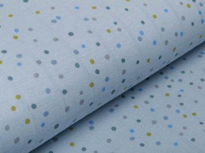 Musselin Baumwolle Hydrofiel Double Gauze - Dots - pastellblau