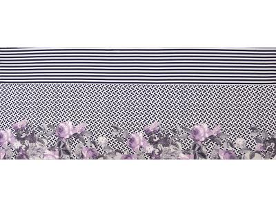 KDS Queen's Collection Iris - Jersey Viskose PANEL ca. 80cm x 155cm - Blumen auf gemustertem Hintergrund - lila