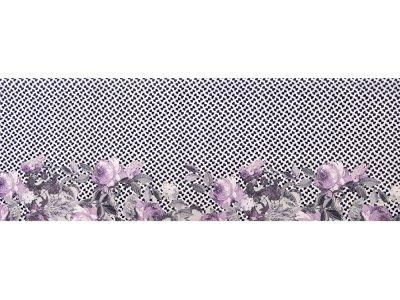 KDS Queen's Collection Iris - Webware Viskose PANEL ca. 75cm x 145cm - Blumen auf gemustertem Hintergrund - lila