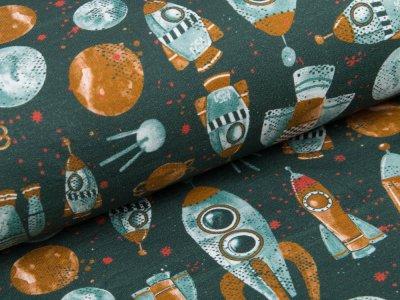 Sweat French Terry Rocket Science by Poppy - Raumschiffe im Weltall - grün