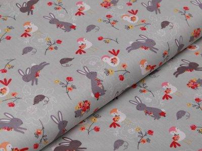 Webware Baumwolle Popeline - Hasen und Blumen - mint
