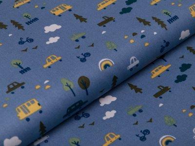 Webware Baumwolle Popeline - Autos und Regenbögen - blau