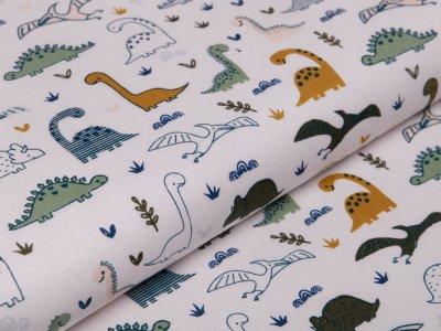 Webware Baumwolle Popeline - verschiedene Dinos - wollweiß
