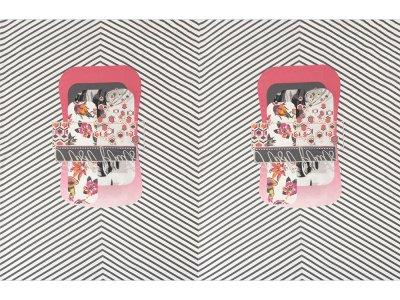 KDS Queen's Collection Kaya - Jersey Viskose PANEL ca. 90 cm x 160 cm - tropisches Muster auf diagonalen Streifen - grau/weiß