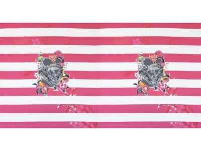 KDS Queen's Collection Kaya - Jersey Viskose PANEL ca. 150cm x 85cm - Kolibri im tropischem Rahmen auf Blockstreifen - pink/weiß