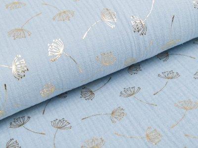 Musselin Double Gauze Foliendruck - Pusteblumen - helles blau / gold