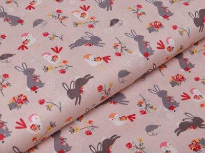 Webware Baumwolle Popeline - Hasen und Blumen - rosa