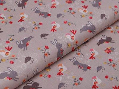 Webware Baumwolle Popeline - Hasen und Blumen - beige