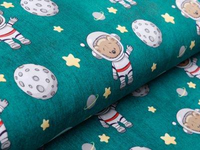Sweat French Terry in Jeansoptik - Kosmonauten Teddy - smaragdgrün