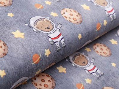 Sweat French Terry in Jeansoptik - Kosmonauten Teddy - grau