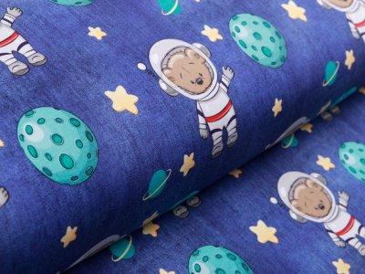 Sweat French Terry in Jeansoptik - Kosmonauten Teddy - blau