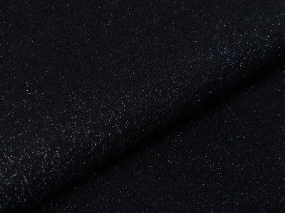 Glattes Bündchen im Schlauch 70 cm mit Glitzerfäden - uni schwarz/silberfarben