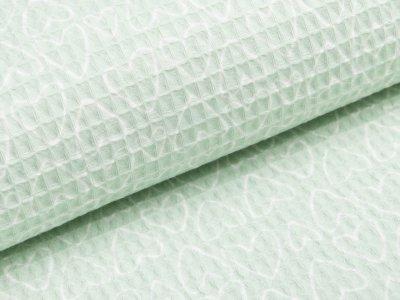 Waffelpiqué Baumwolle - Herzen- helles mint
