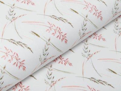 Webware Baumwolle Popeline Digitaldruck - Gräser - wollweiß