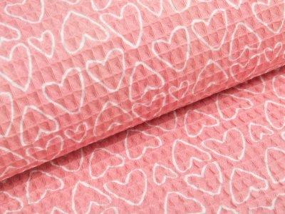 Waffelpiqué Baumwolle - Herzen- pink