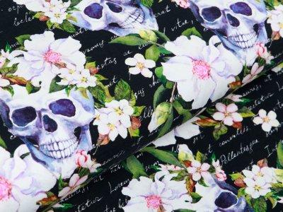 Jersey Fräulein von Julie - Skulls mit Blumenschmuck auf Schriftzügen - schwarz