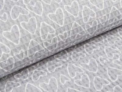 Waffelpiqué Baumwolle - Herzen- grau