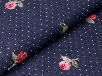 Leichter Jeansstoff mit Stickerei - Rosen auf Punkte - dunkles jeansblau