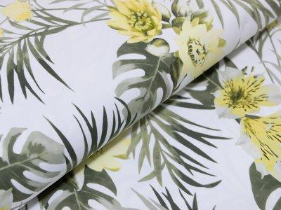 KDS Queen's Collection Liliana - Webware Baumwolle Stretch - Lilien - weiß