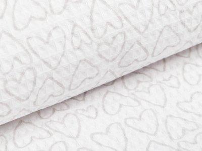 Waffelpiqué Baumwolle - Herzen- weiß