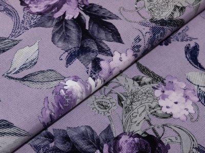 KDS Queen's Collection Iris - Webware Viskose - gemusterte Blumen - flieder
