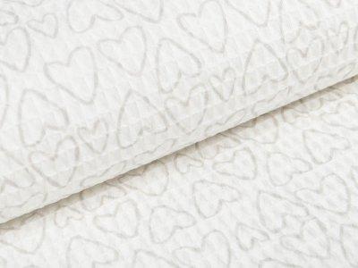 Waffelpiqué Baumwolle - Herzen- wollweiß
