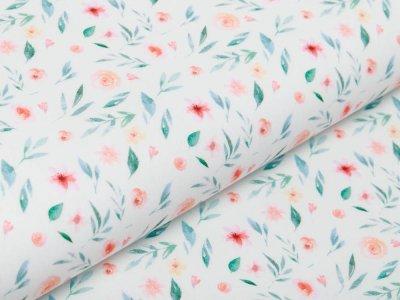 Webware Baumwolle Popeline Digitaldruck - Aquarelle Blumen - wollweiß