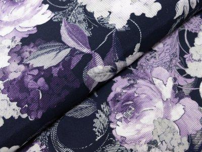 KDS Queen's Collection Iris - Webware Viskose - gemusterte Blumen - dunkelblau