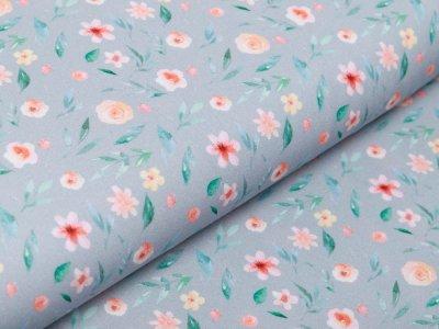 Webware Baumwolle Popeline Digitaldruck - Aquarelle Blumen - grau