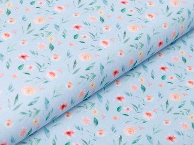 Webware Baumwolle Popeline Digitaldruck - Aquarelle Blumen - blau