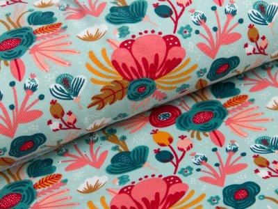 Jersey - Blumen - mint