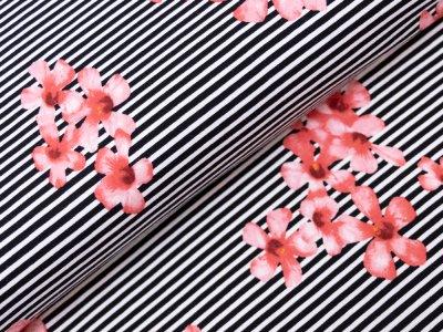 KDS Queen's Collection Leonie - Jersey Viskose - Streifen und Blüten - weiß/schwarz