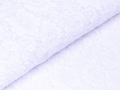 Elastische Spitze - Blumen - weiß