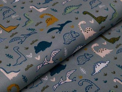 Webware Baumwolle Popeline - verschiedene Dinos - mint