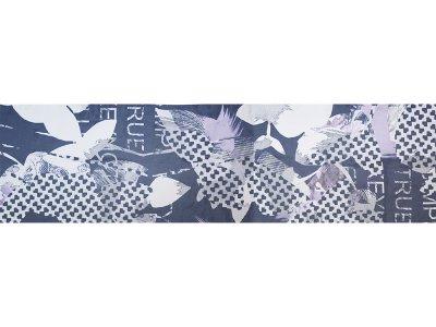 KDS Queen's Collection Iris - Tuch-PANEL ca. 45cm x 175cm - gemusterte Blumen - weiß/dunkelblau/flieder