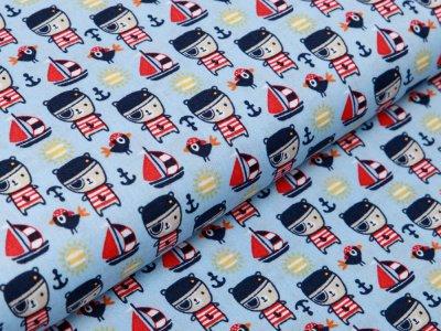 Webware Baumwolle Popeline - Piraten-Bären - blau