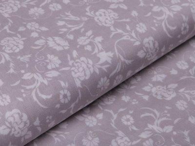Webware Baumwolle leicht glänzend - Blumenranken -  grau