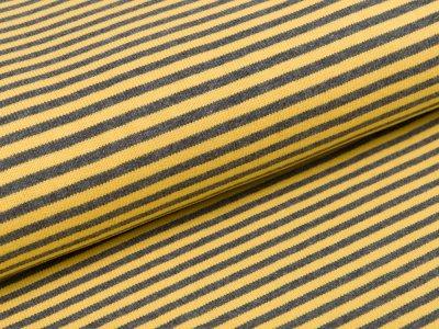 Feinstrickjersey - Streifen - gelb/grau