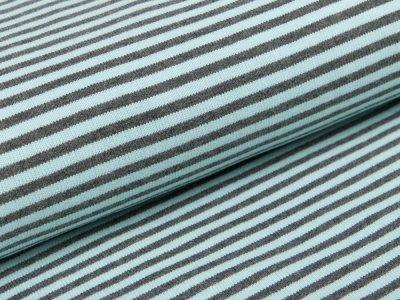 Feinstrickjersey - Streifen - mint/grau