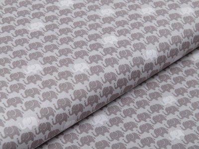 Webware Baumwolle Popeline - Elefantenparade - grau