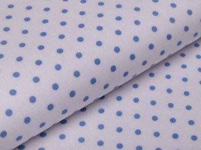 Webware Baumwolle leicht glänzend - Punkte -  weiß/blau