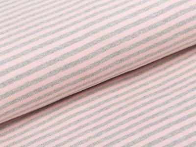 Feinstrickjersey - Streifen - rosa/grau