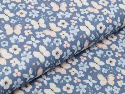 Webware Baumwolle Popeline Digitaldruck - Aquarelle Schmetterlinge - jeansblau
