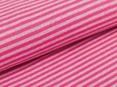 Feinstrickjersey - Streifen - pink/grau
